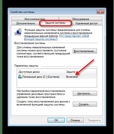 Состояние функции восстановления системы в Windows 7
