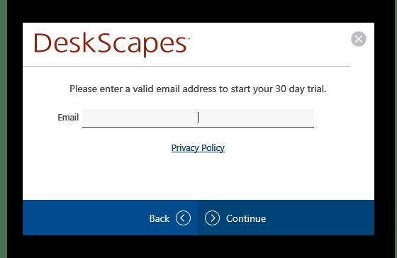 Ввод электронной почты для регистрации пробной версии DeskScapes