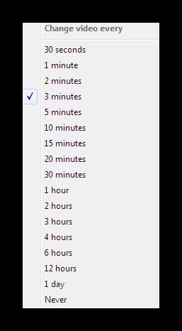 Выбор времени таймера для переключения плейлиста в Video Wallpaper
