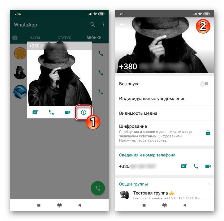 Whats App для Android открытие экрана Данные контакта из журнала звонков