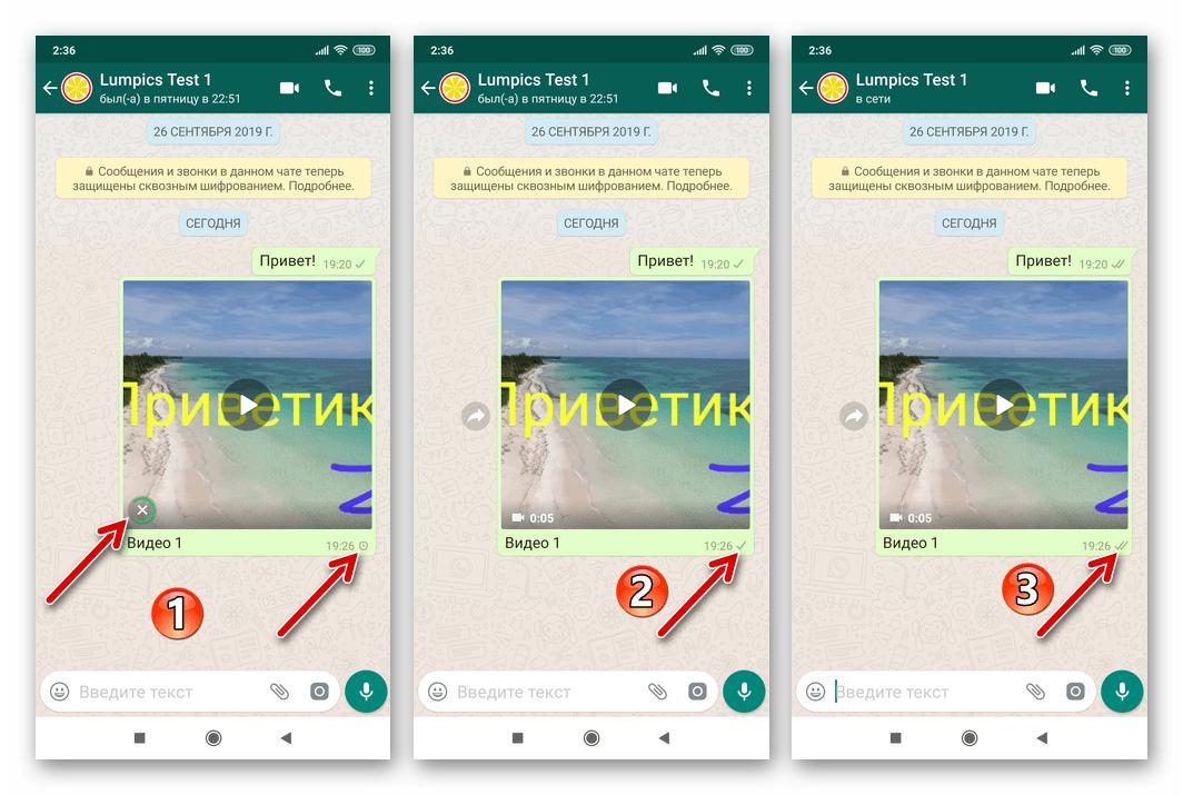 WhatsApp для Android процесс сжатия видео, отправка в чат с получателем