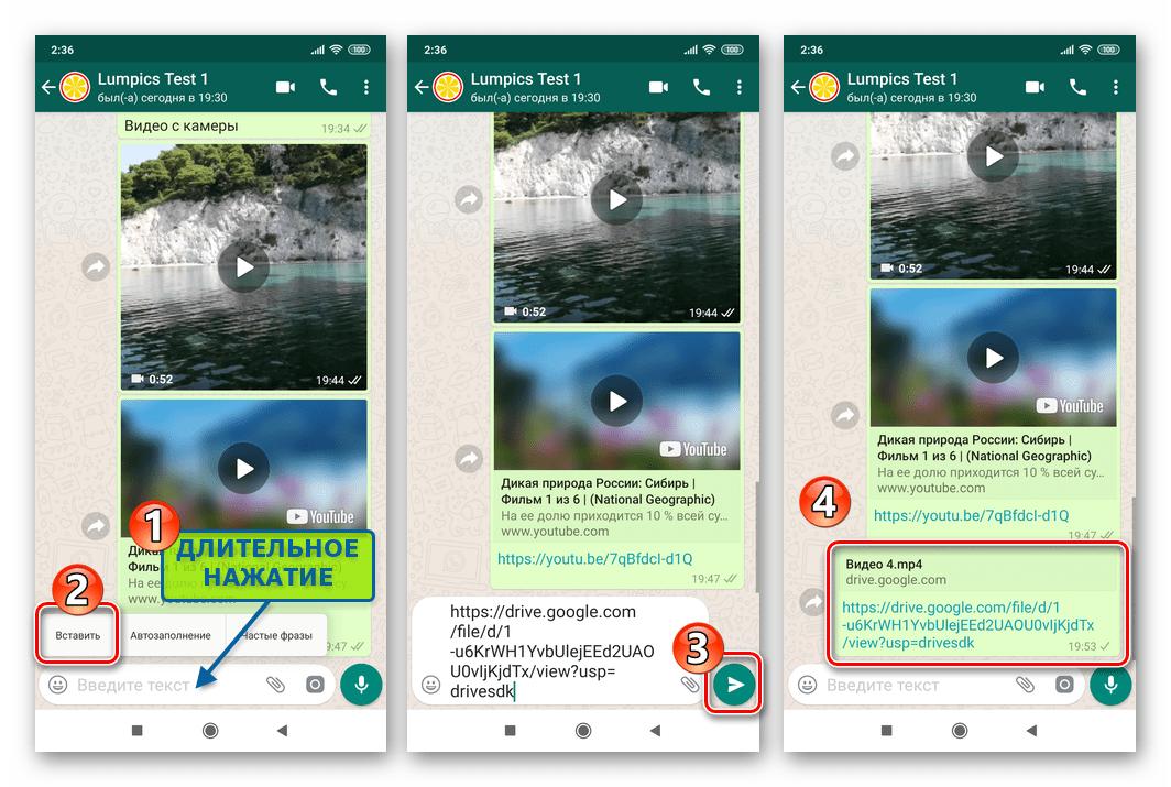 WhatsApp для Android вставка ссылки на видео из облака в сообщение и ее отправка