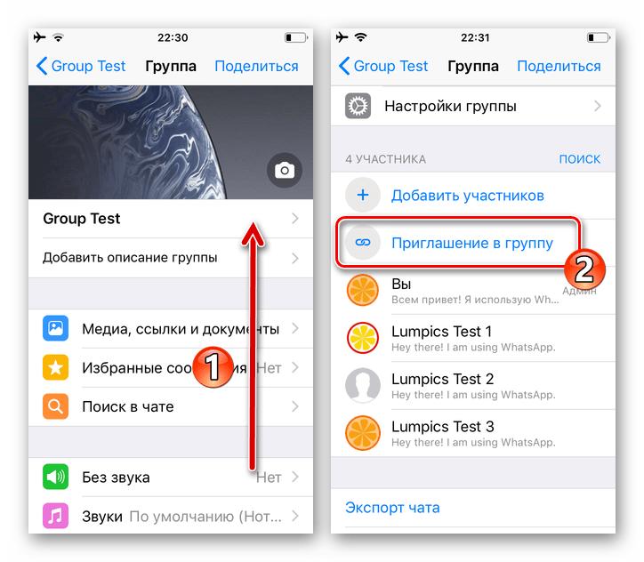 WhatsApp для iOS функция Приглашение в группу в перечне параметров чата