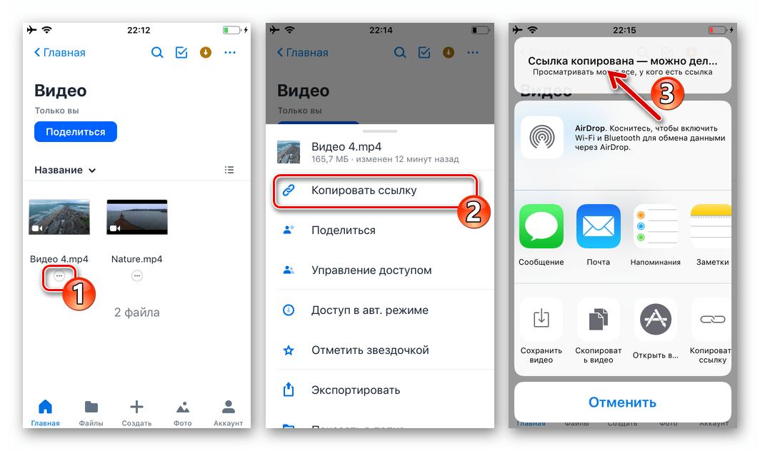WhatsApp для iOS копирование ссылки на видео в облачном хранилище