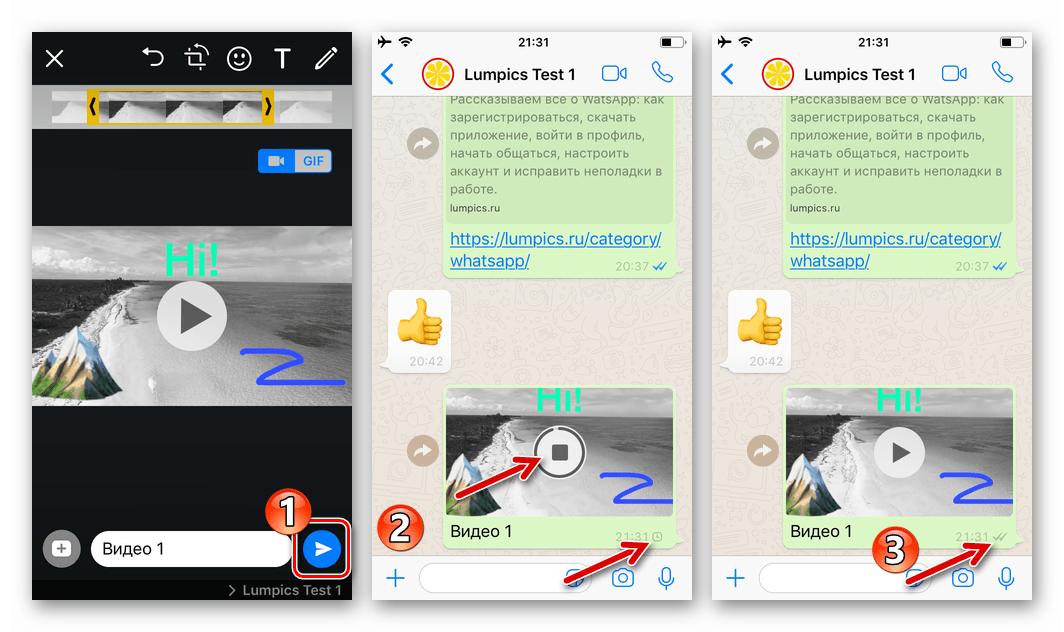 WhatsApp для iOS процесс отправки видео со сжатием через мессенджер