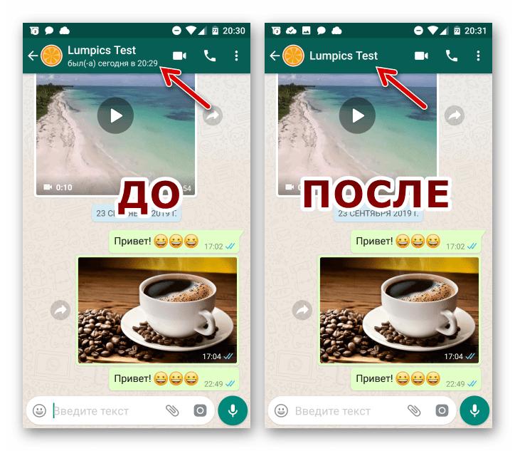 WhatsApp для iOS результат отключения трансляции даты и времени посещения мессенджера