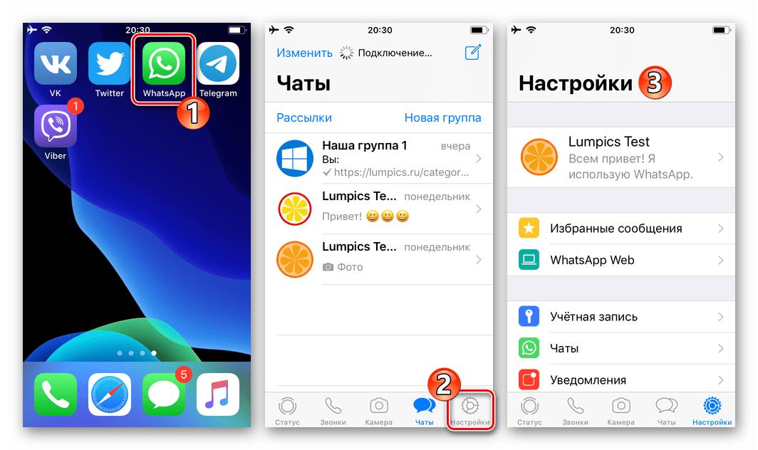 WhatsApp для iOS запуск программы, переход в Настройки
