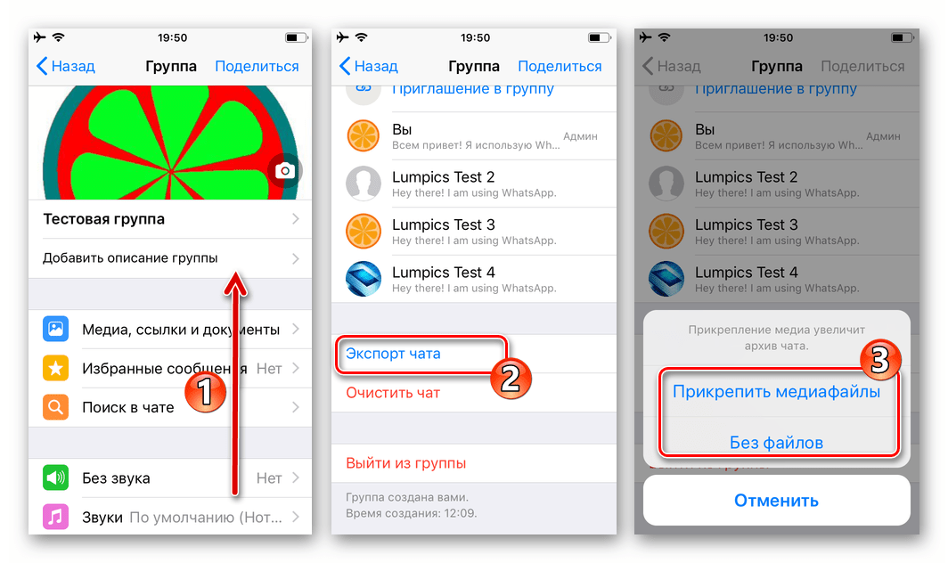 WhatsApp для iPhone функция Экспорт чата в меню диалога или группового чата