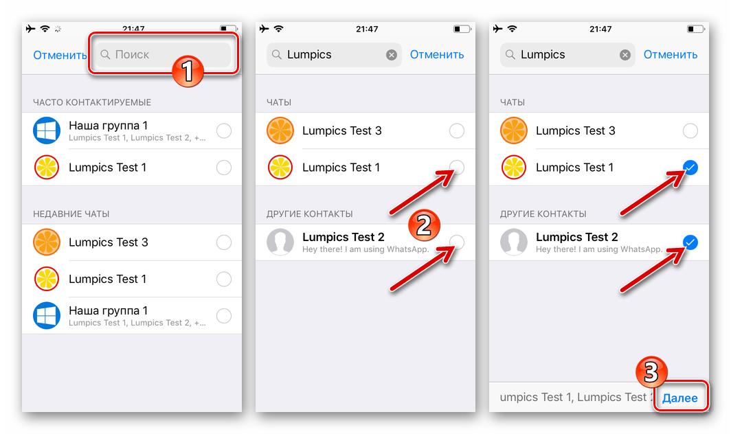 WhatsApp для iPhone функция Отправить в iOS, выбор получателей контента в мессенджере