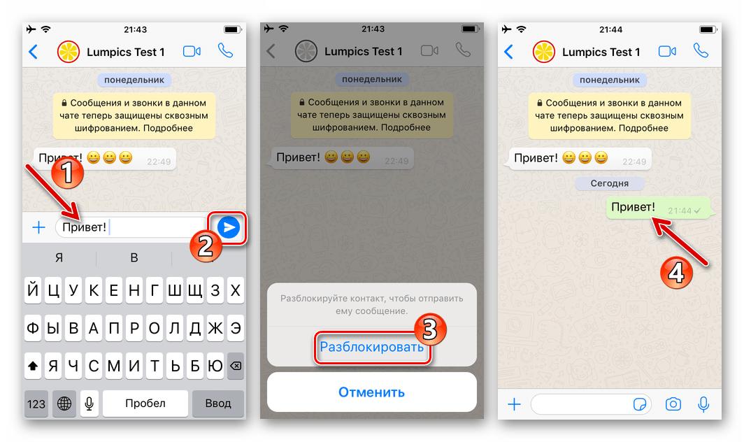 WhatsApp для iPhone отправка сообщения контакту из черного списка приводит к его разблокировке