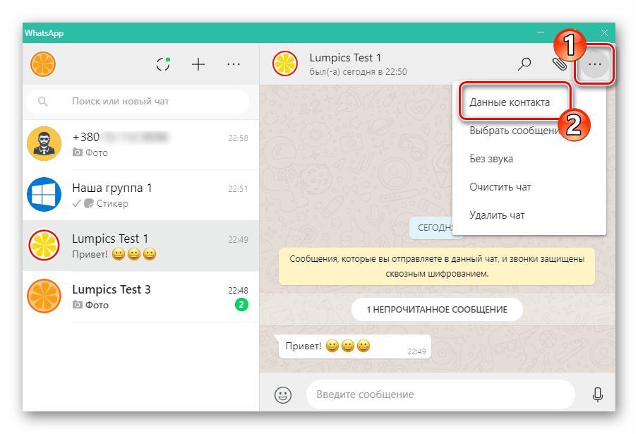 WhatsApp для ПК вызов меню чата, переход в Данные контакта