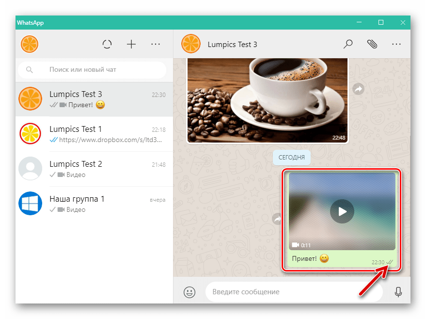 WhatsApp для Windows видео отправлено собеседнику в мессенджере