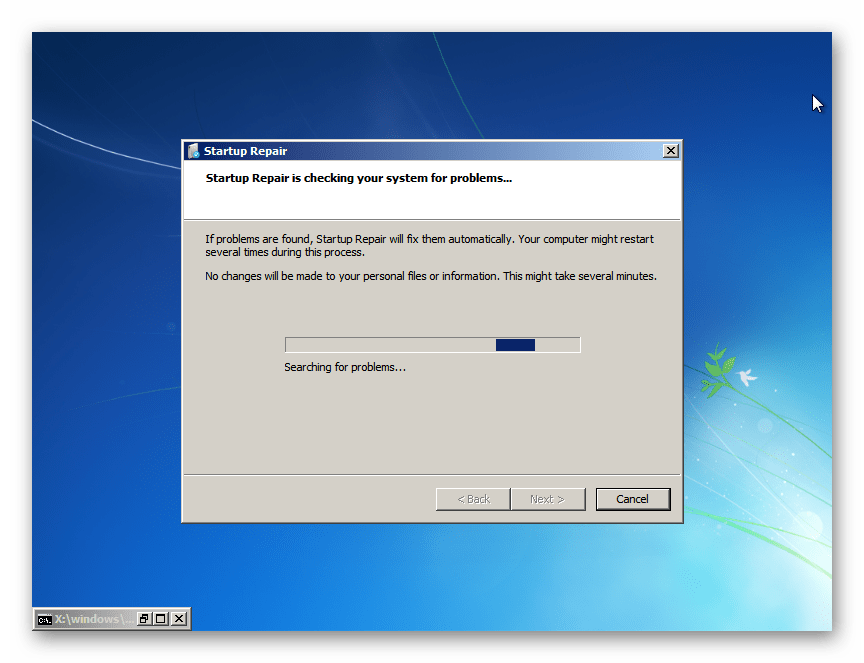 Запущенная утилита Startup Repair в окне System Recovery Options Windows 7