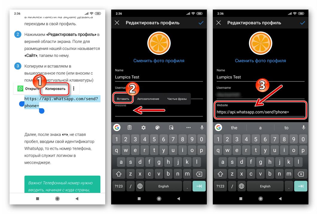Instagram мобильное вставка ссылки на WhatsApp в поле Website на экране Редактировать профиль
