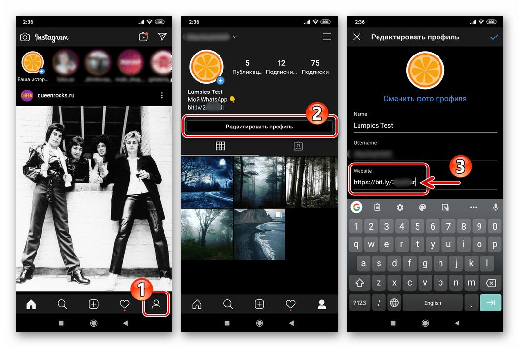 Instagram вставка ссылки-приглашения в групповой чат WhatsApp в данные профиля соцсети