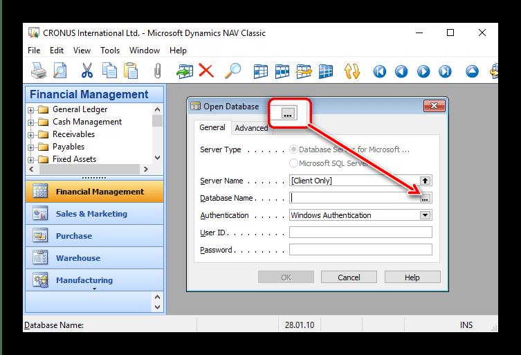 Начать выбор файла в Microsoft Dynamics NAV для открытия файлов FDB