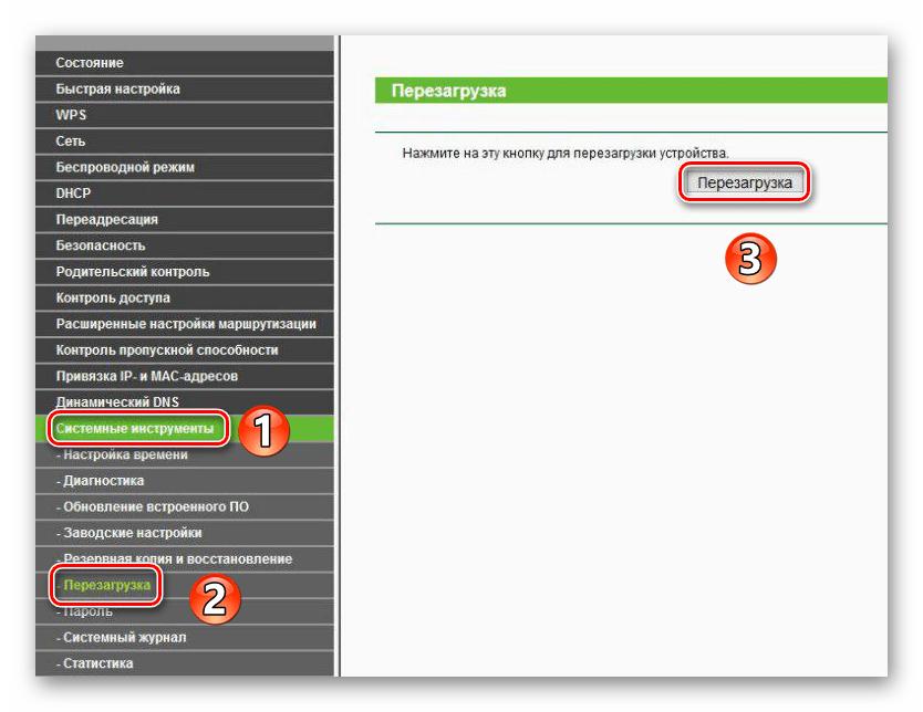 Перезагрузка роутера через веб-интерфейс в браузере