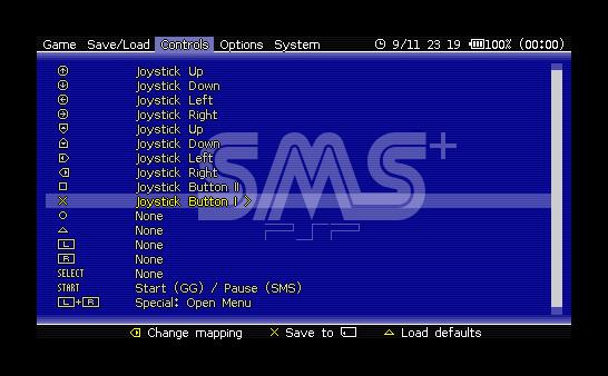Приложение-эмулятор Сеги SMS Plus PSP для PlayStation Portable