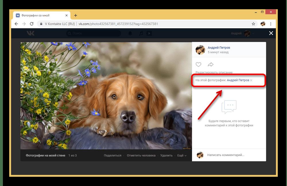Просмотр отметок на фотографии на сайте ВКонтакте