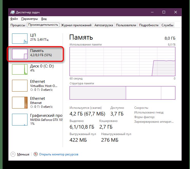 Просмотр загруженности оперативной памяти при решении проблем с запуском Google Chrome