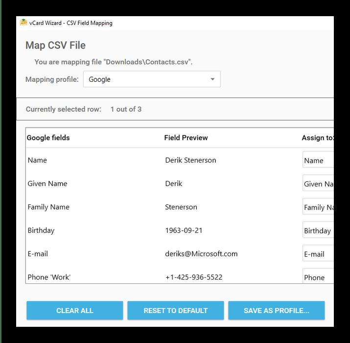 Содержимое результата преобразования VCF в CSV в vCard Wizard