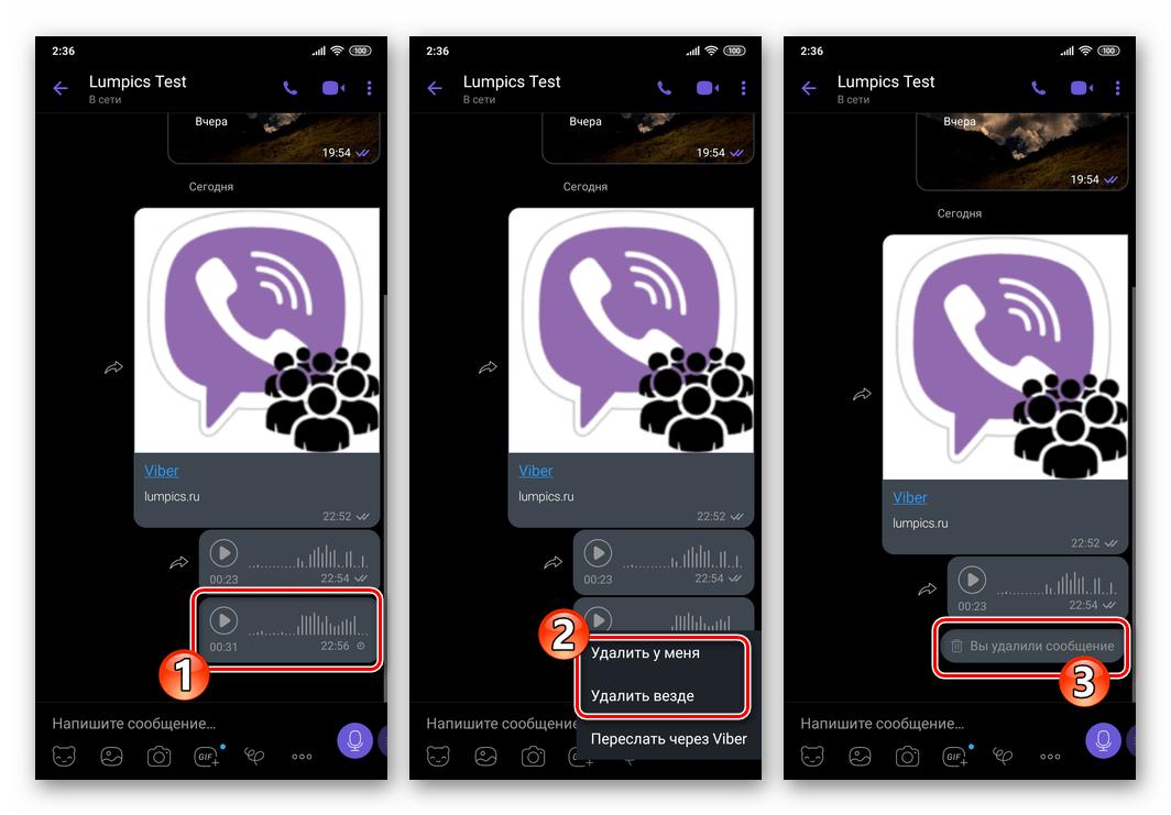 Viber для Android удаление отправленного голосового сообщения у себя и у собеседника