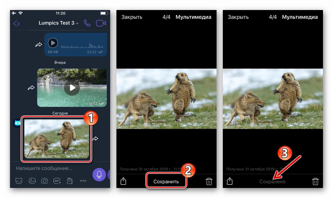Viber для iPhone сохранение фото из мессенджера в Галерею