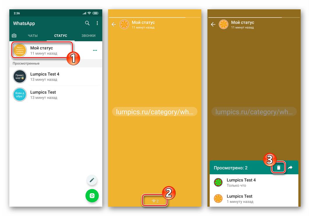 WhatsApp для Android Удаление Статуса с экрана его просмотра