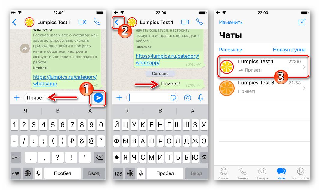 WhatsApp для iOS отправка сообщения контакту с целью разархивации чата с ним