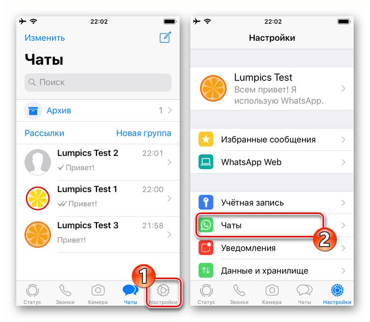 WhatsApp для iOS переход в раздел Чаты Настроек мессенджера
