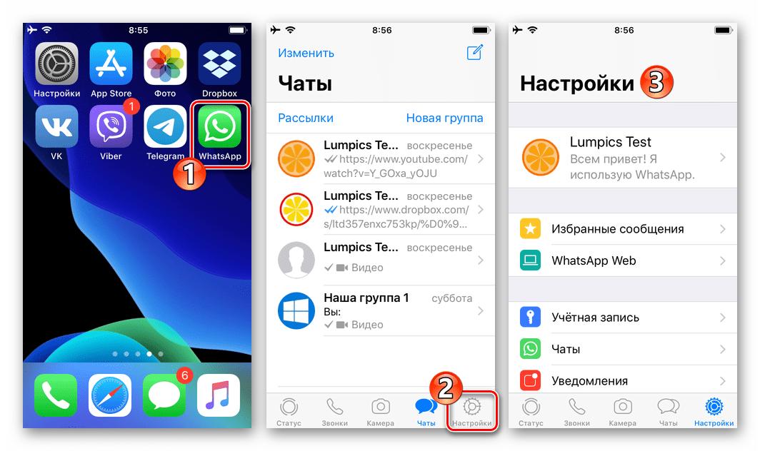 WhatsApp для iOS запуск приложения, переход в Настройки