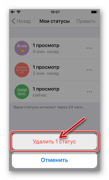 WhatsApp для iOS завершение удаления одного обновления основного Статуса в мессенджере