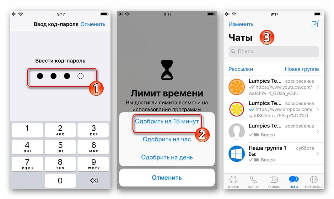WhatsApp для iPhone вход в мессенджер, заблокированный Экранным временем