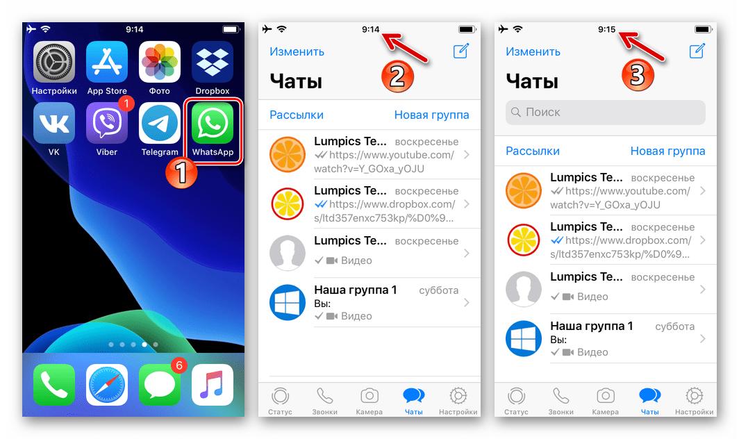 WhatsApp для iPhone запуск мессенджера для активации контроля Экранным временем