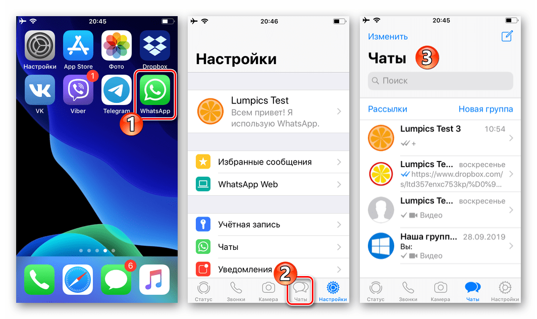 WhatsApp для iPhone запуск мессенджера, поиск архивируемого чата