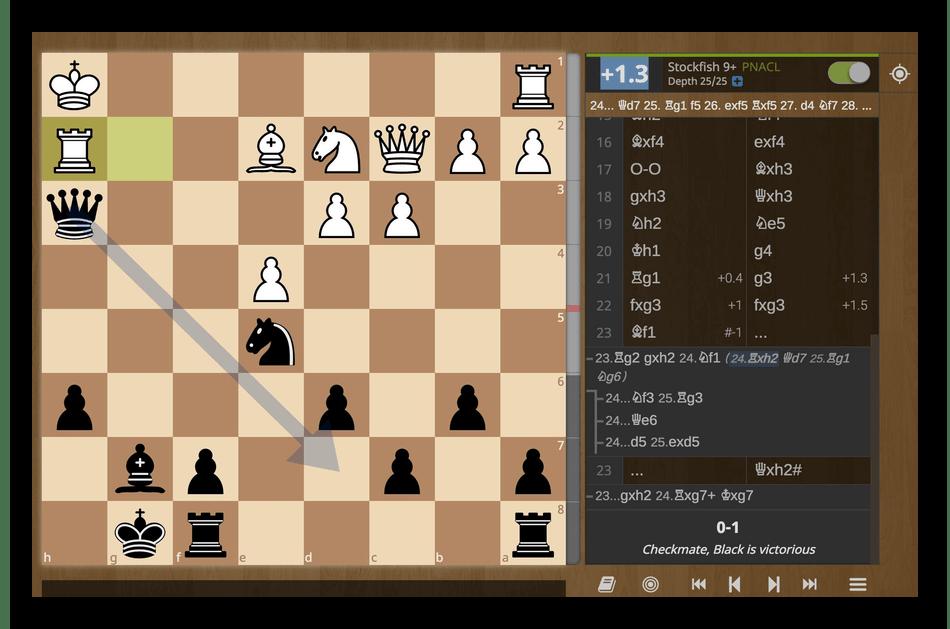 Действие шахматного движка Stockfish при произведении анализа партий