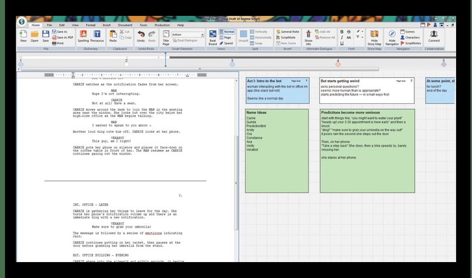 Добавление заметок при создании сценария в программе Final Draft