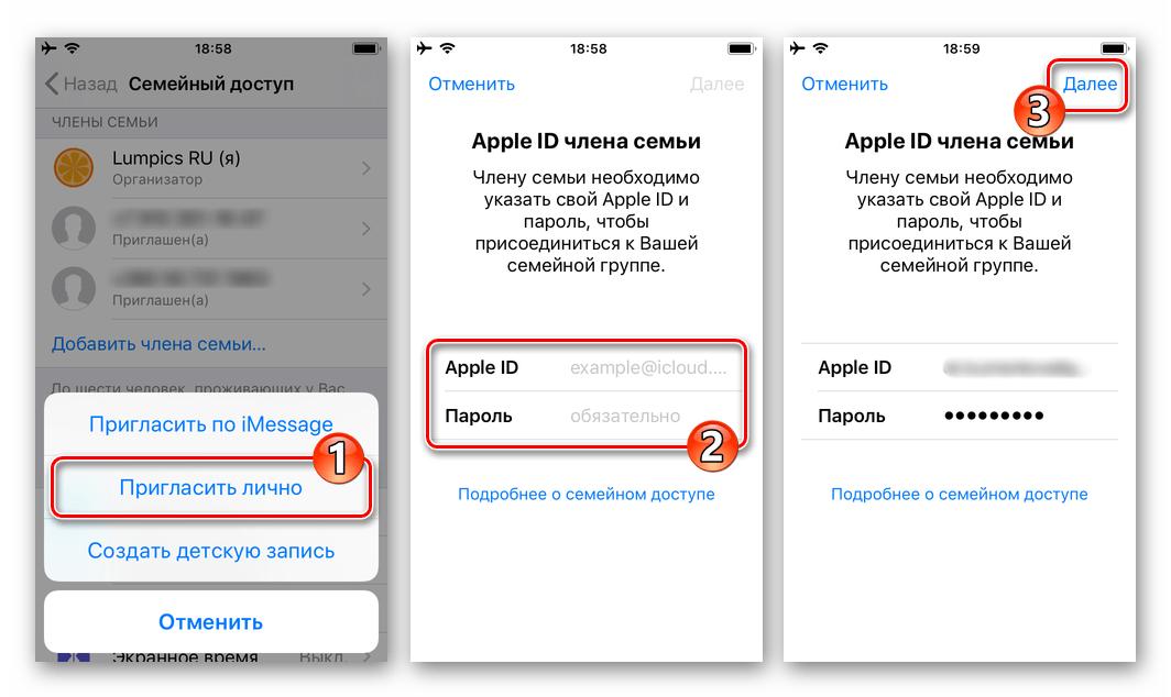 iPhone добавление участника Семейного доступа путем ввода его Apple ID и пароля