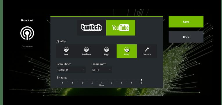 Использование программы GeForce Experience для проведения прямых трансляций