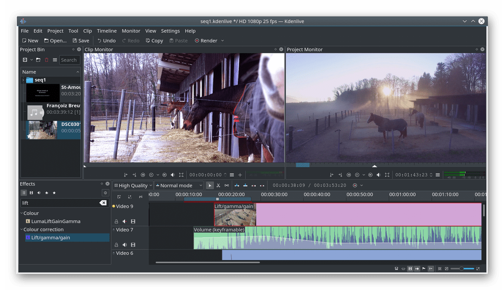 Использование программы Kdenlive для редактирования видео в Linux