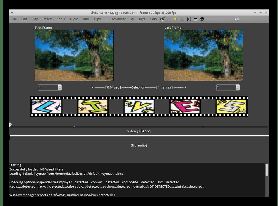 Использование программы LiVES для редактирования видео в Linux