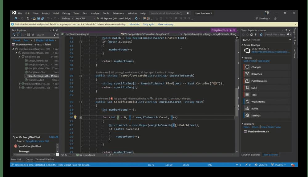 Использование программы Visual Studio для написания кода на компьютере