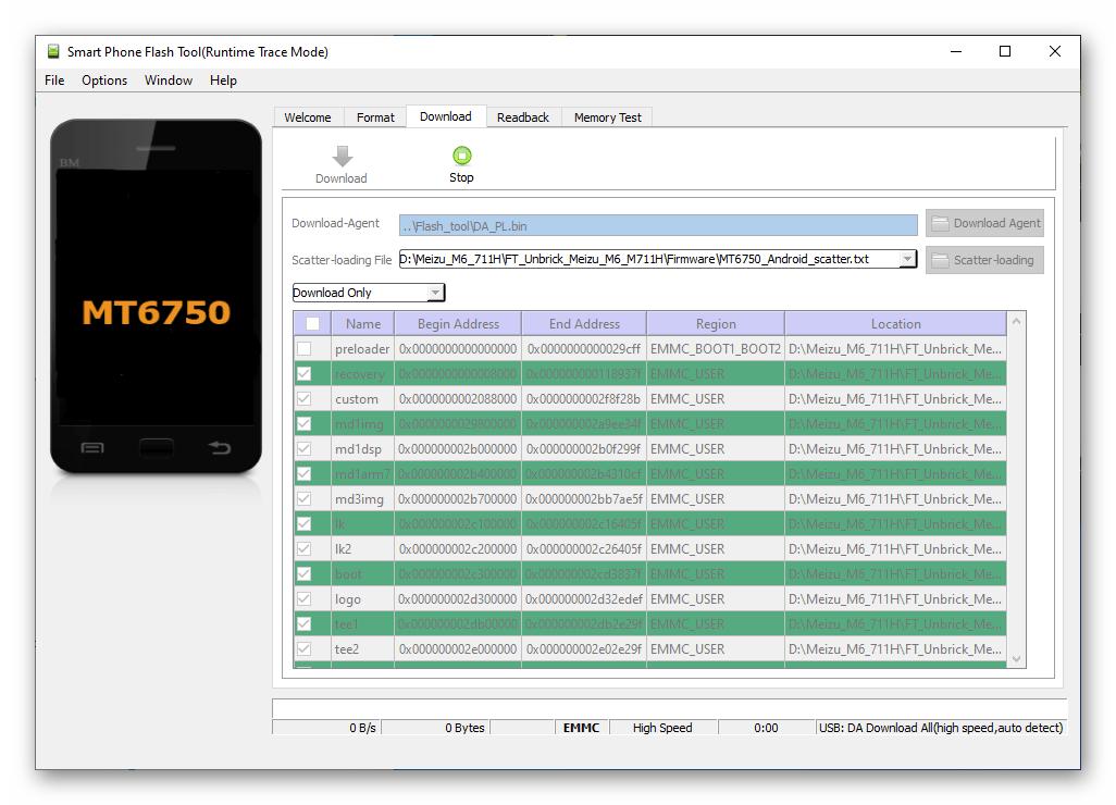 Meizu M6 SP Flash Tool подключение смартфона к ПК для прошивки-восстановления
