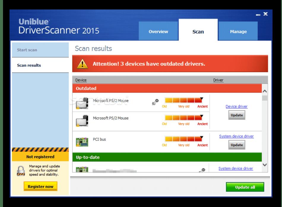 Обновление драйверов на компьютере через программу DriverScanner