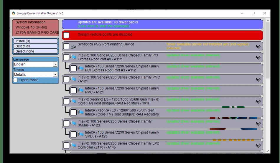 Обновление драйверов на компьютере через программу Snappy Driver Installer