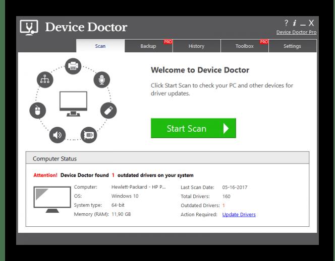 Обновление драйверов на компьютере с помощью программы Device Doctor