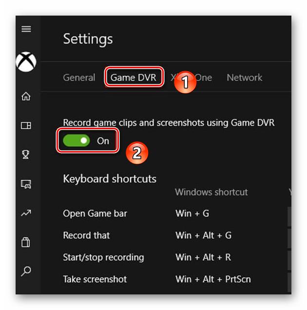 Отключение функции DVR для игр в приложении на Windows 10