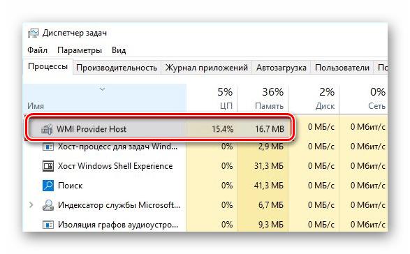 Отображение процесса WMI Provider Host в Диспетчере задач в Windows 10
