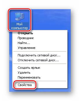 Переход к свойствам системы с рабочего стола Windows XP