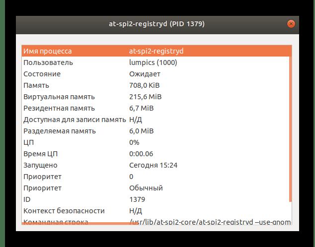 Просмотр общий сведений о процессе через системный монитор в Linux